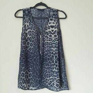 The Kooples Leopard Print Silk Blouse